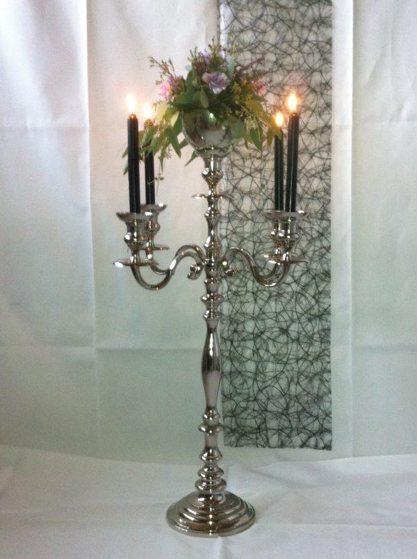 Lysestager sølv, femarmet stor m. dekorationsskål