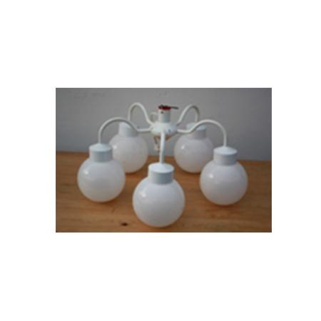 Diverse : Lysekrone til telt med 5 kupler, hvid