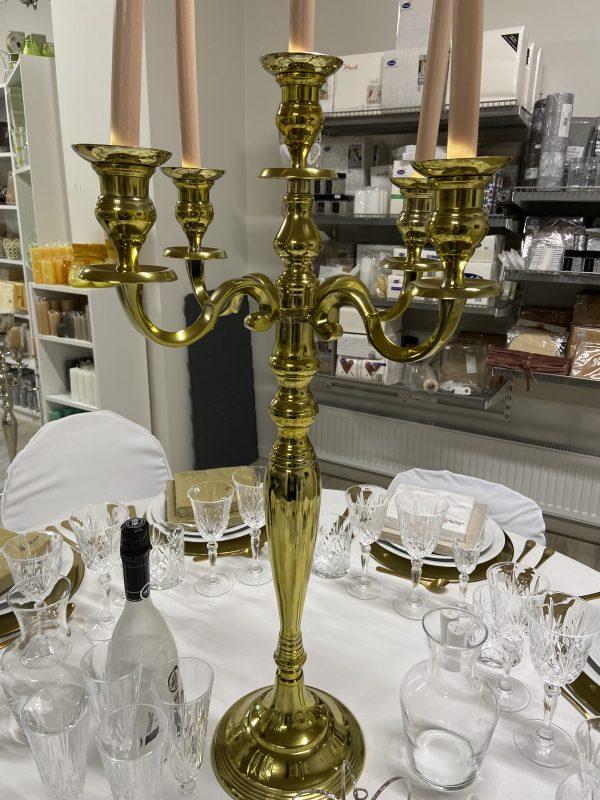 Lysestager guld, femarmet stor - 85cm